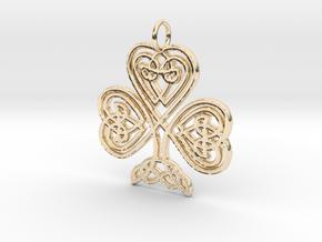 Celtic Shamrock Pendant Elegant Irish Charm in 14K Yellow Gold