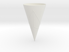 Geodesics Between Points on a 100 degree Cone (3) in White Natural Versatile Plastic