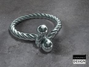 Ring - Twist with Balls in Polished Bronzed Silver Steel
