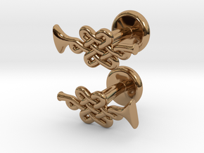 Infinity Knot Trumpet Cufflinks in Polished Brass
