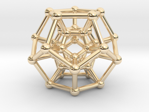 Hyper Dodecahedron in 14k Gold Plated Brass