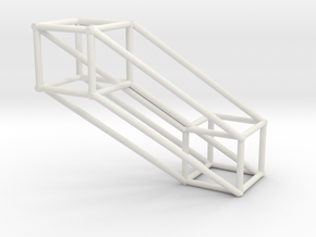 Large 4D Hypercube in White Natural Versatile Plastic