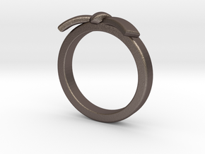 Martial Arts Belt Ring in Polished Bronzed Silver Steel: 6 / 51.5
