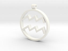 Aquarius Zodiac Sign Pendant in White Strong & Flexible Polished