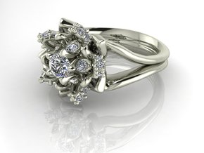Flower ring NO STONES SUPPLIED in Fine Detail Polished Silver