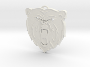 Angry Bear Cartoon Pendant Charm in White Natural Versatile Plastic