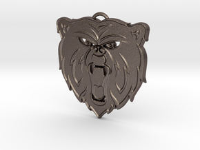 Angry Bear Cartoon Pendant Charm in Polished Bronzed Silver Steel