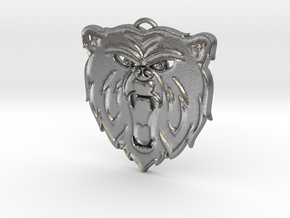 Angry Bear Cartoon Pendant Charm in Natural Silver