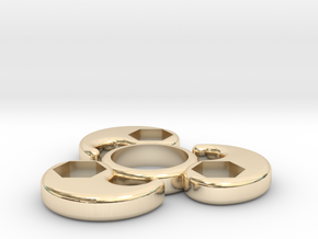 Single Bearing Hand Spinner in 14k Gold Plated Brass