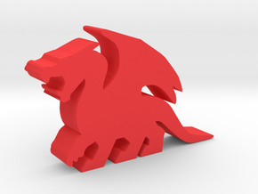 Game Piece, Dragon, Roaring in Red Processed Versatile Plastic