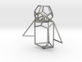 Wireframe Penguin in Natural Silver (Interlocking Parts)