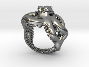 Octopus Ring2 18mm in Polished Silver