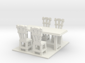 Dinner table and chairs 1.12 in White Strong & Flexible