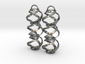 Swirl 3 - Pair of earrings in cast metal in Polished Silver