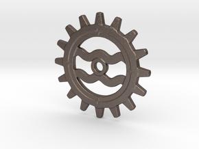 Aquarius Gear in Polished Bronzed Silver Steel