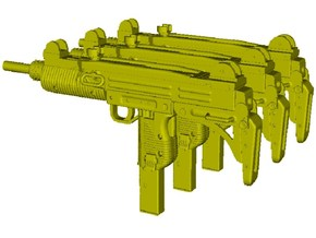 1/15 scale IMI Uzi submachineguns x 3 in Smooth Fine Detail Plastic