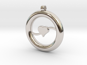Ring Pendant - Heart in Rhodium Plated Brass