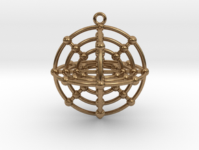 Six Medicine Wheel 3D in Natural Brass