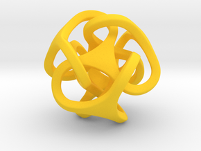 Interlocking Ball based on Tetrahedron in Yellow Strong & Flexible Polished