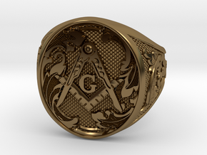 Masonic Geometry Signet Ring in Polished Bronze