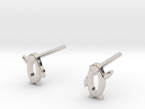 Penguin high five in Rhodium Plated Brass