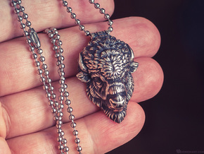 Bison Head pendant in Natural Brass