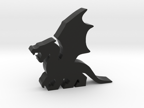 Game Piece, Dragon, Wings Flapping in Black Natural Versatile Plastic