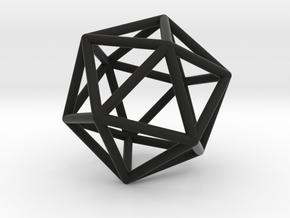 Icosahedron Pendant in Black Natural Versatile Plastic