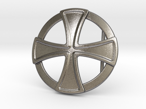 Templar Cross Belt Buckle in Polished Nickel Steel