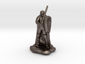 Human Ranger with Sword and Shield in Polished Bronzed Silver Steel