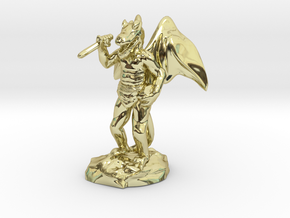 Winged Kobold with Dagger And Rock in 18k Gold