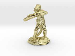 Kobold Archer With Shortbow Shooting High in 18k Gold Plated Brass