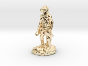 Kobold Archer, Standing Relaxed With Shortbow in 14K Yellow Gold