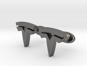 Tesla Logo cufflinks in Polished Nickel Steel
