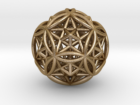 "Dodecasphere w/ Icosahedron & Star Faced Dodeca 2"" in Polished Gold Steel"