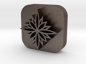 Flower-stamp-2 in Polished Bronzed Silver Steel