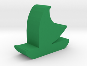 Game Piece, Polynesian Sailing Canoe in Green Processed Versatile Plastic