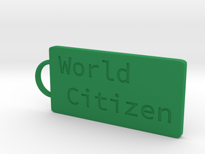 World Citizen Keychain in Green Processed Versatile Plastic