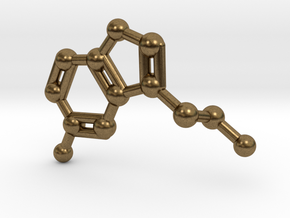 Serotonin Molecule Keychain in Natural Bronze