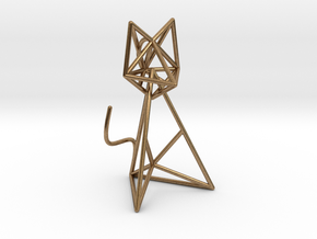 Wireframe Cat in Natural Brass (Interlocking Parts)