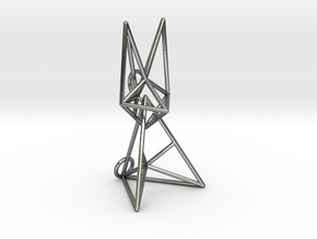 Wireframe Bunny in Interlocking Polished Silver