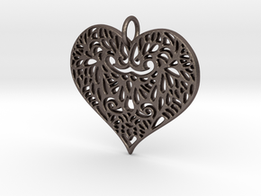 Beautiful Romantic Lace Heart Pendant Charm in Polished Bronzed Silver Steel