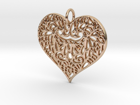 Beautiful Romantic Lace Heart Pendant Charm in 14k Rose Gold Plated Brass