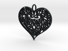 Beautiful Romantic Lace Heart Pendant Charm in Black Hi-Def Acrylate