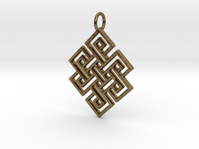 Endless Knot Religious Pendant Charm in Natural Bronze