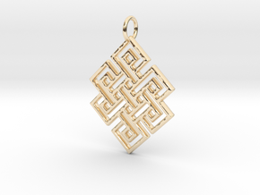 Endless Knot Religious Pendant Charm in 14K Yellow Gold