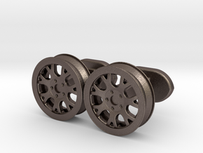 rims cufflinks in Polished Bronzed Silver Steel