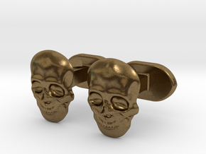 Skull face cufflinks in Natural Bronze