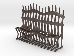 Ribbed Bench in Polished Bronzed Silver Steel: Medium