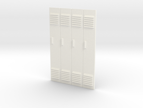1/24 - Block of 4 Locker Fronts in White Processed Versatile Plastic